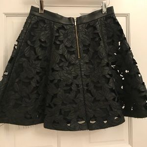 Club Monaco Laser Cut Leather Skirt